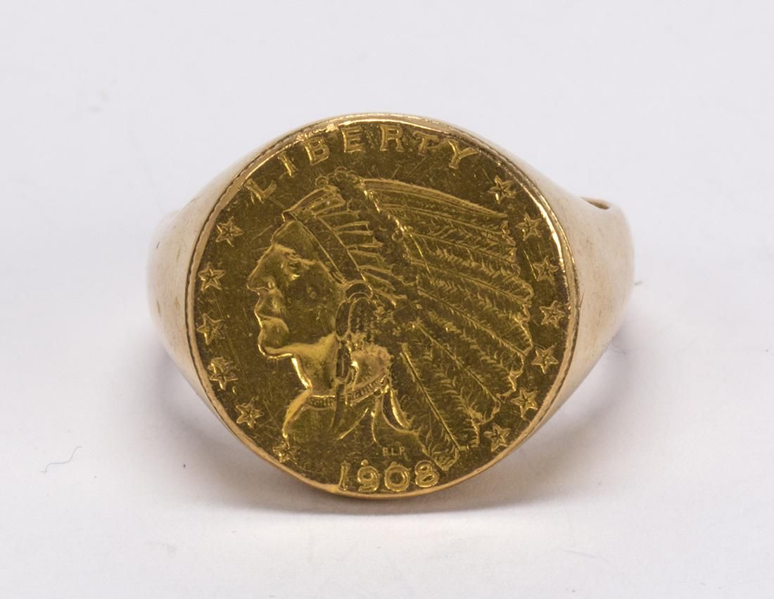 US $2 1/2 gold coin and 14k yellow gold ring