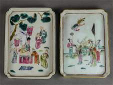 Two Chinese Porcelain Trays, Figures