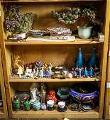 Three Shelves of Asian Decorative Items: Fans,