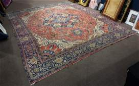 Antique Persian Heriz carpet wear and damage 15x