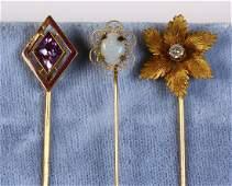(Lot of 3) Diamond, multi-stone, yellow gold and metal