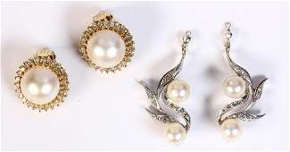 (Lot of 2) Cultured pearl, diamond and gold earrings