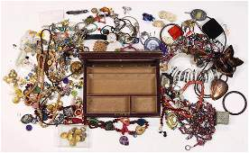 Collection of costume jewelry and box