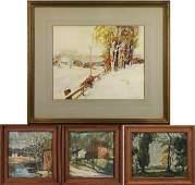 Set of 4 paintings by Carl Frederick Gaertner