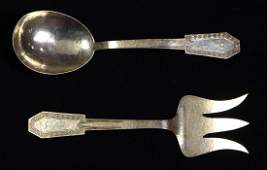 Pair of American sterling silver salad servers