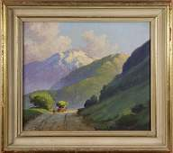 Painting, Farmer Traveling the Mountain Roads