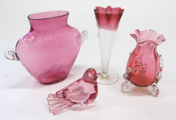4012: Victorian cranberry glass vase