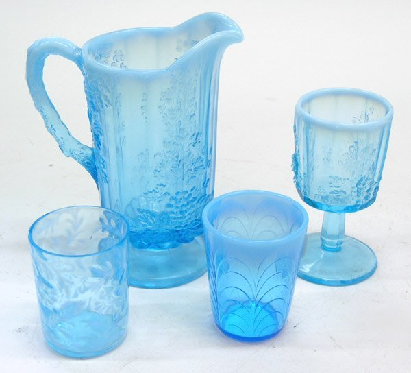 4013: Victorian blue glass tumblers pitcher