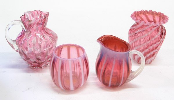 4024: Victorian art glass sugar & creamer