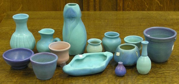 5990: Van Briggle blue color art pottery