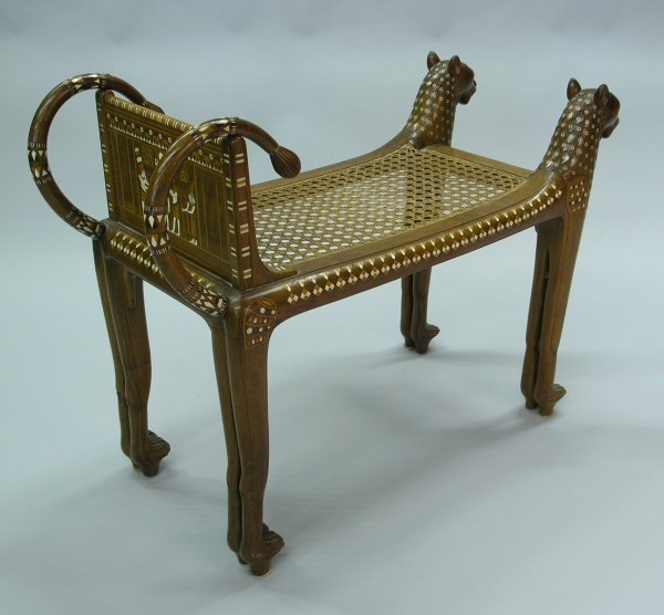 6381: Egyptian Revival carved bench
