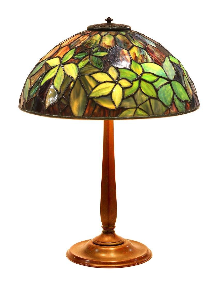 Tiffany Studios New York Woodbine pattern leaded glass