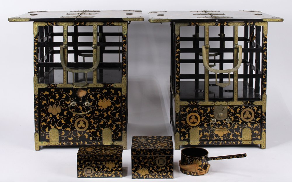 Japanese Black Lacquered Portable Tables/Chests