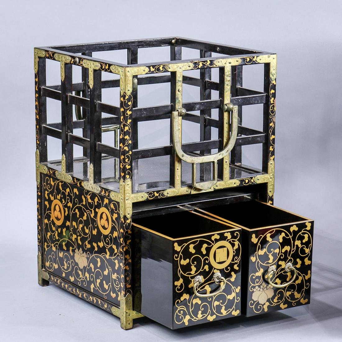 Japanese Black Lacquered Portable Tables/Chests - 2