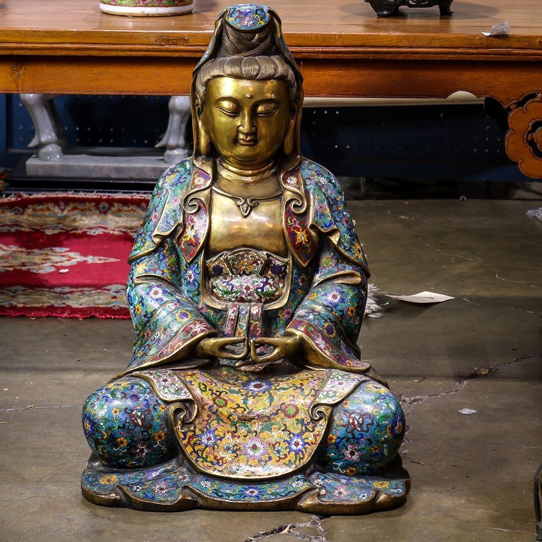 Chinese Cloisonne Enameled Bodhisattva