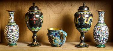 Chinese Cloisonne Enameled Vases Bird Form Cup
