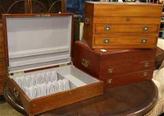 Edwardian campaign style silverware chests