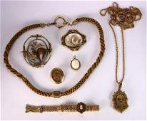 (Lot of 8) Victorian hair, cameo, gold-filled and gold