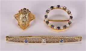 (Lot of 3) Diamond, sapphire, cultured pearl and yellow
