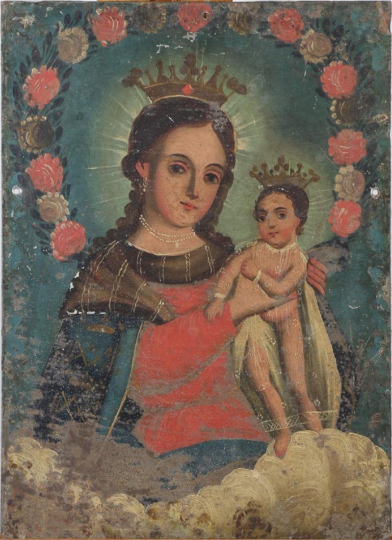 Madonna and Madonna & Child, Oils on Tin (Retablos)