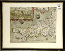 Map, William Kip after Christopher Saxton, Cornwall
