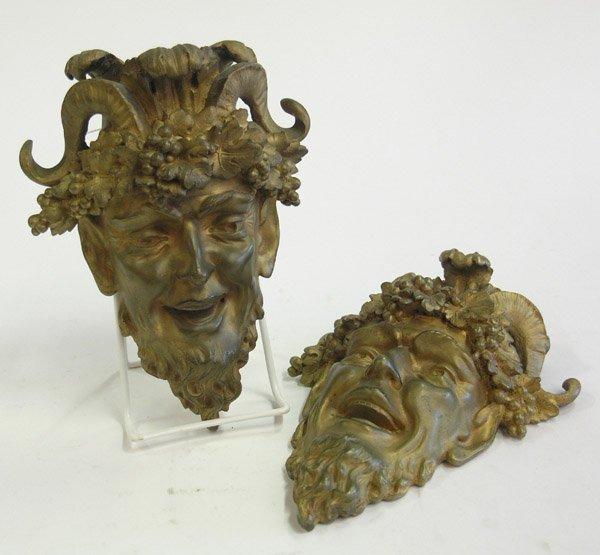 8: Gilt bronze Bacchus head wall sconces
