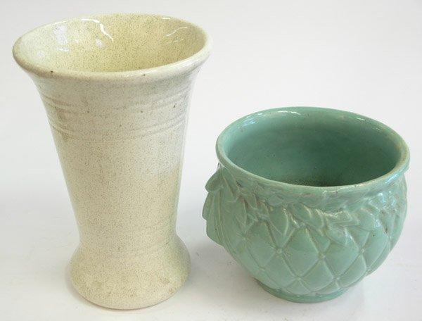 15: Bauer speckled cream glaze vase McCoy