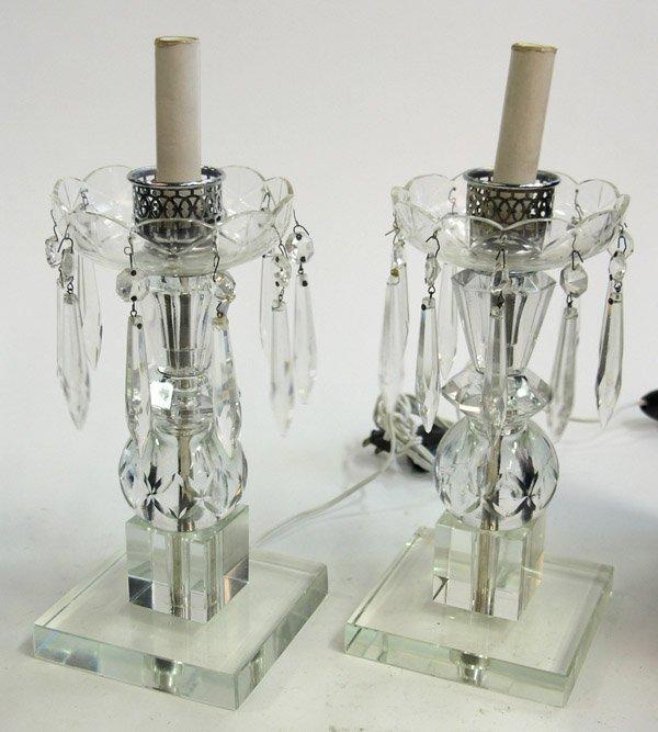 19: Cut glass and chrome boudoir lamp base