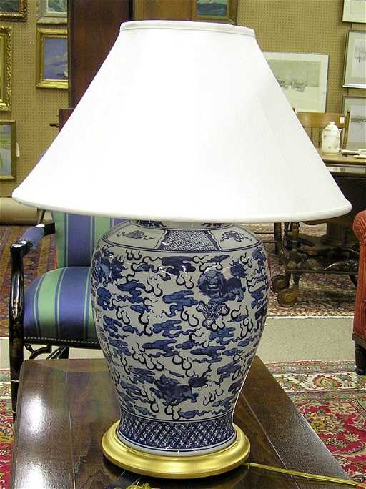2214 Ralph Lauren Blue And White Table Lamp