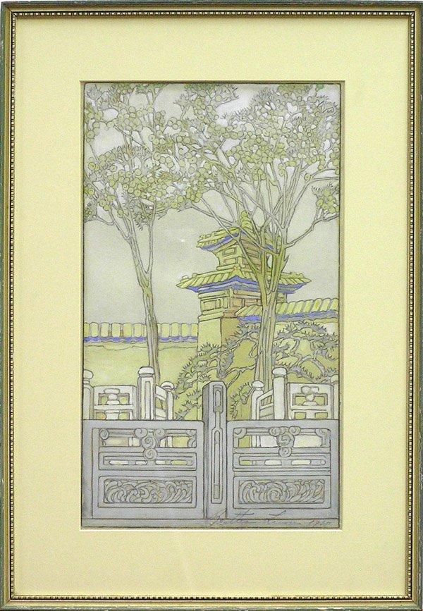 2272: Gouache/pencil drawing Palace Gates Bertha Lum