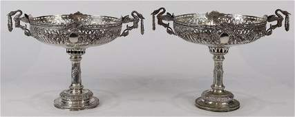 Pair of Continental 800 silver Neoclassical style