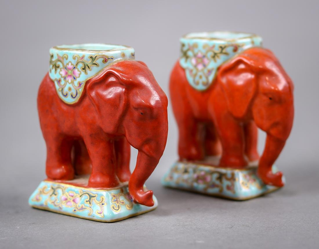 Chinese Small Porcelain Elephants/Candle Holders