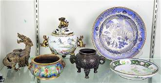 Chinese Cloisonne/Metal Plates and Censers,