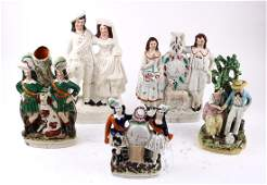 (lot of 5) Staffordshire ceramic figural groups, late