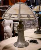 Arts and Crafts metal overlay table lamp