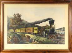 Print Currier  Ives American Express Train