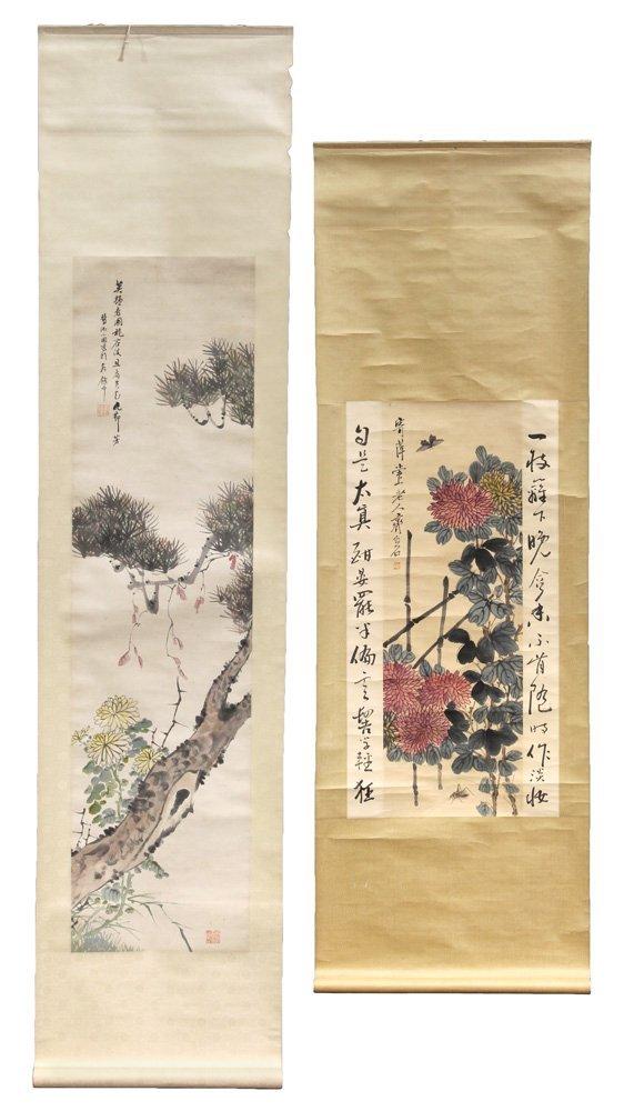 Chinese Scrolls, Manner of Qi Baishi, Chrysanthemums