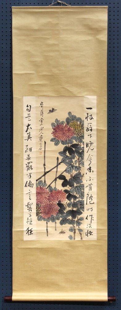 Chinese Scrolls, Manner of Qi Baishi, Chrysanthemums - 8