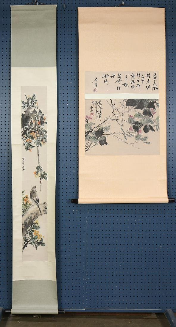 Chinese Scrolls, Flowers, Manner of Shi Lu