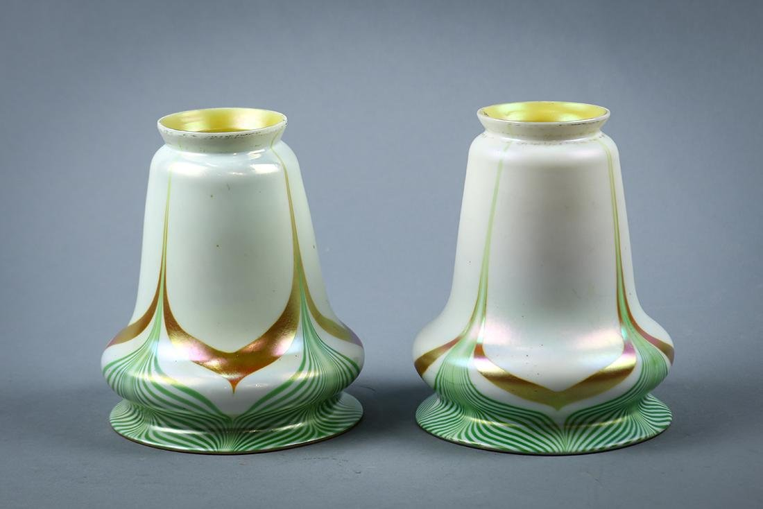Pair of Steuben art glass shades, early 20th century,