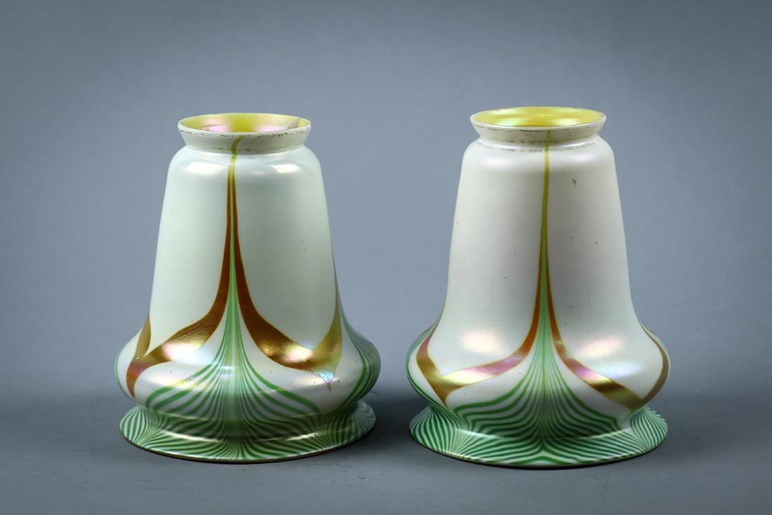 Pair of Steuben art glass shades, early 20th century, - 2