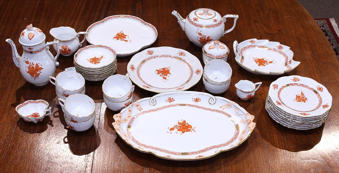 Herend partial table service in the Asian Bouquet