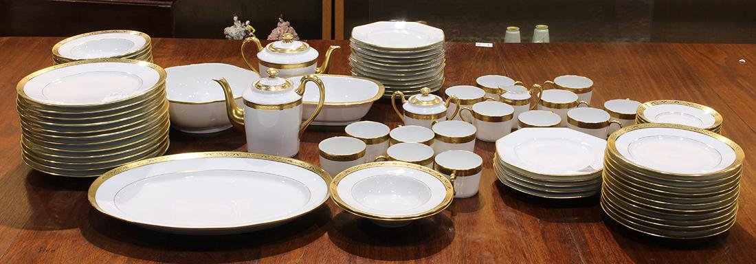 """French Limoges Raynaud """"Ambassador Gold"""" table service"""