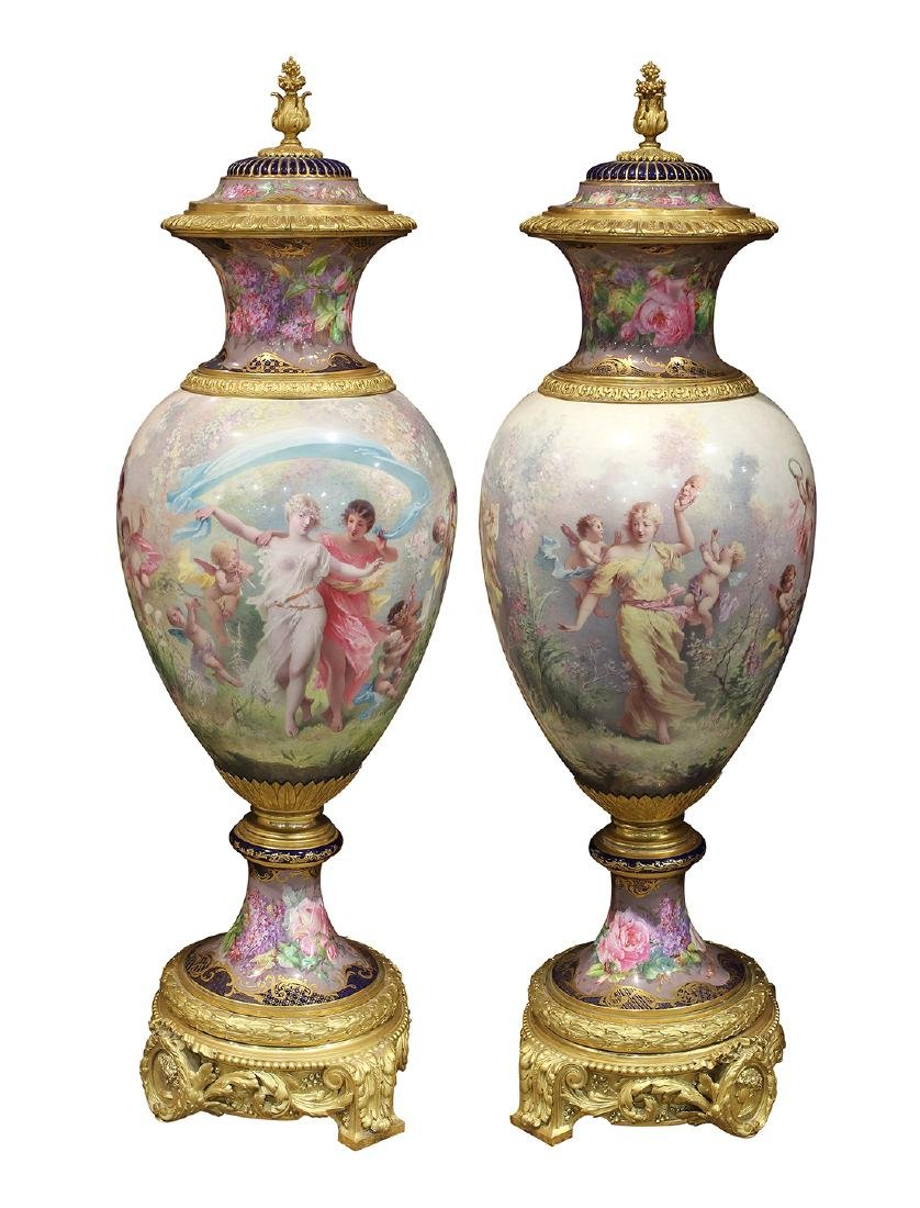 Pair of monumental gilt bronze mounted Sevres