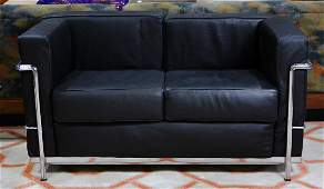 Le Corbusier style leather and chrome sofa