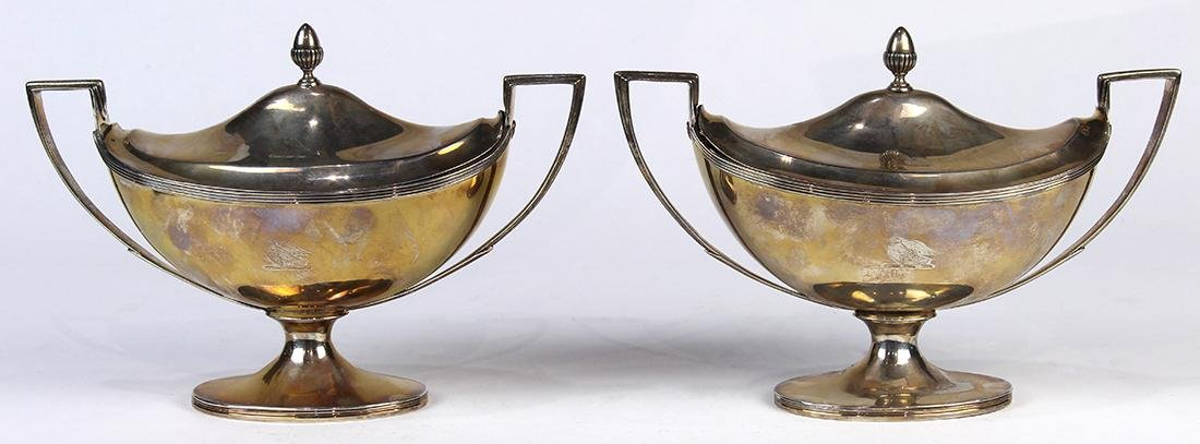Pair of George III sterling silver lidded sauce