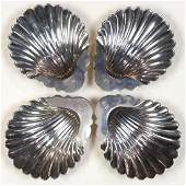 George III sterling silver shell form footed dishes