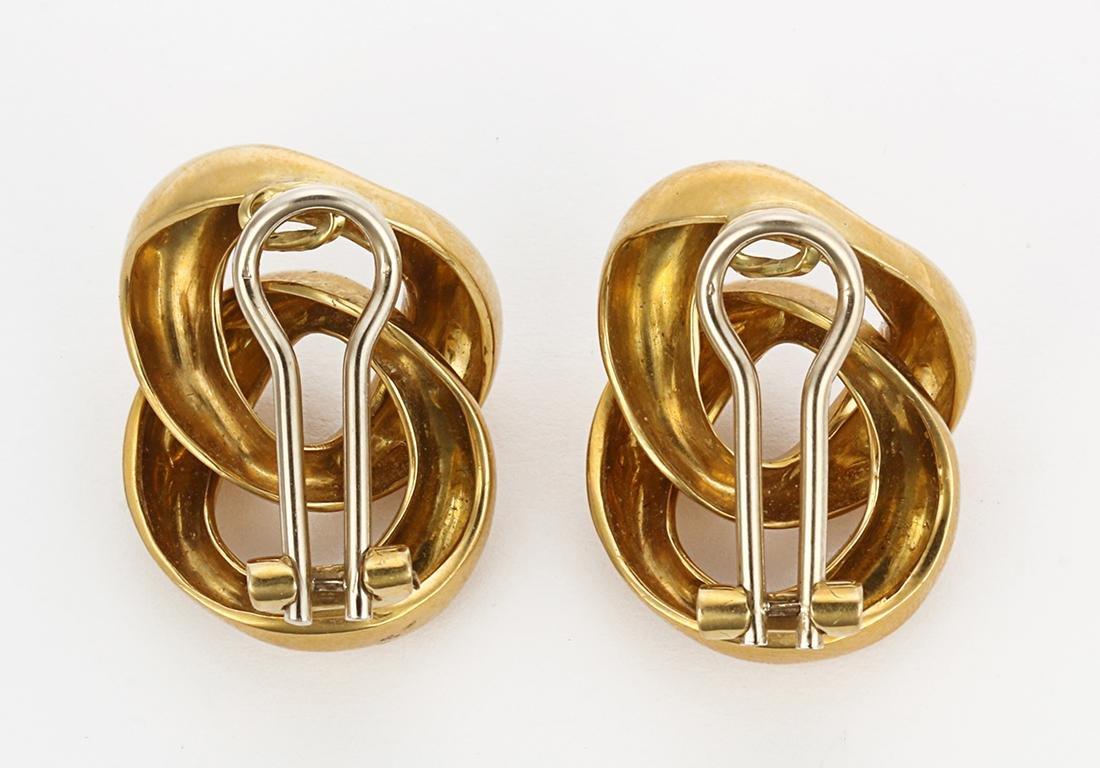 Pair of 18k yellow gold link earrings - 2