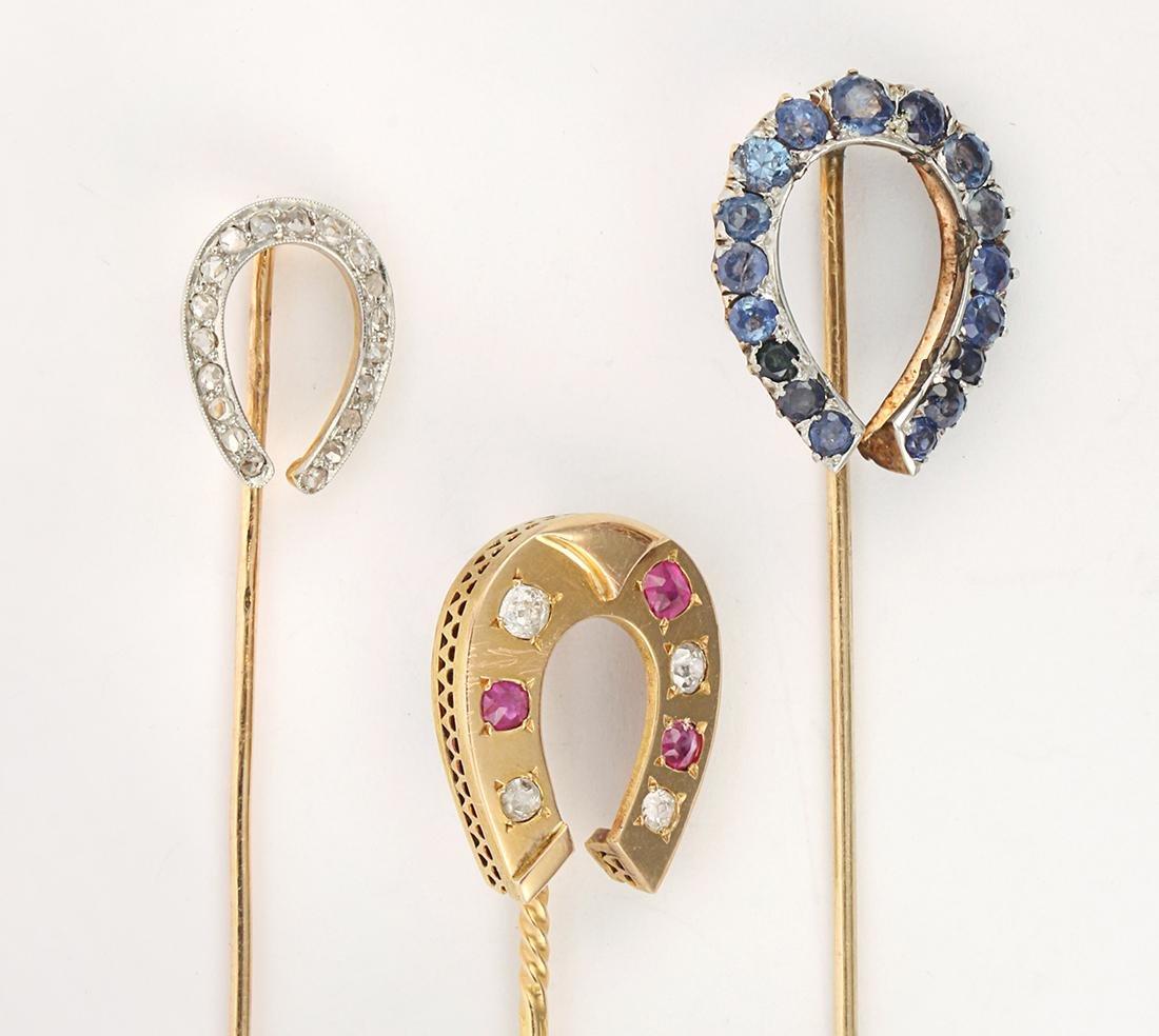 Ruby, sapphire, diamond and platinum, yellow gold horse