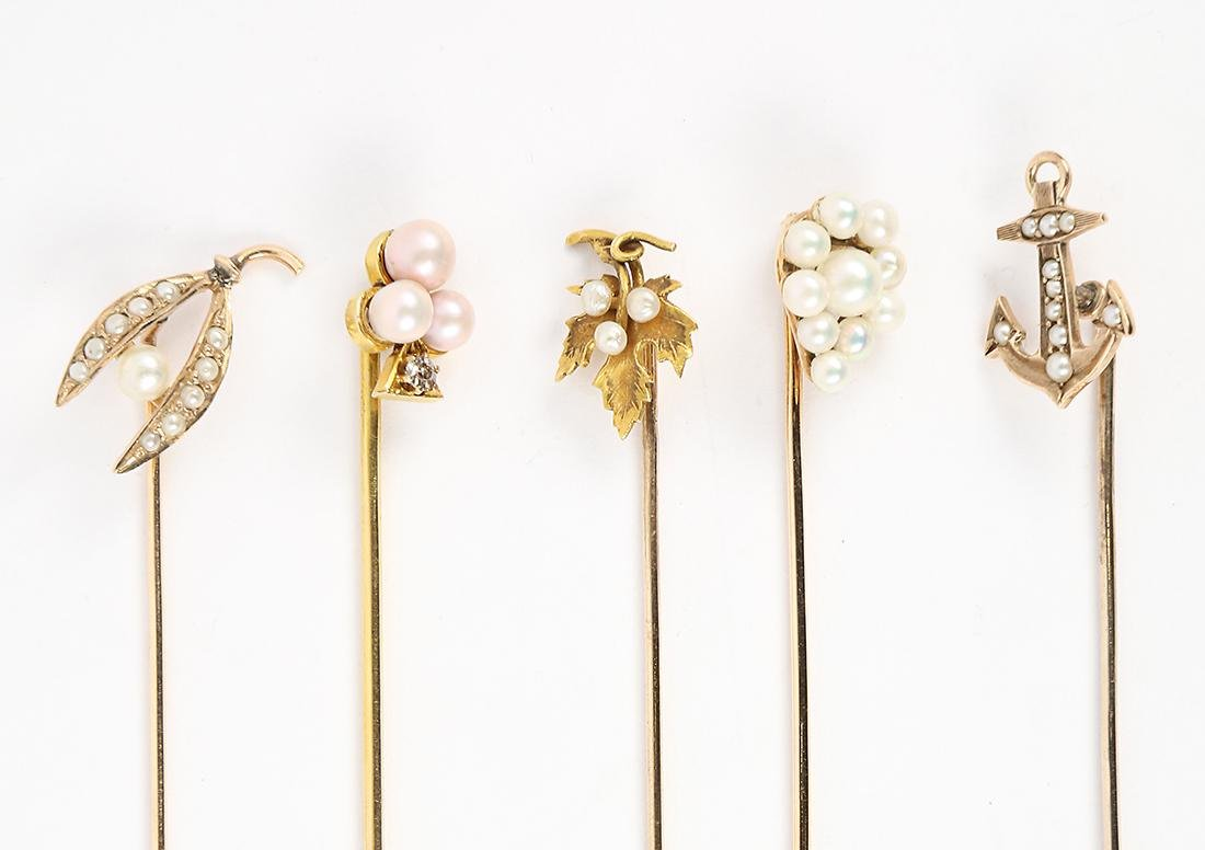 Diamond, cultured pearl and yellow gold stickpins